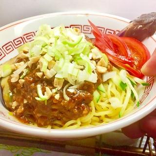 ⭐️麺類の部:夕食-「肉みそと揚げナスの冷し中華」