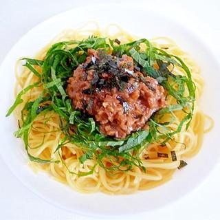 納豆と梅肉と大葉のさっぱりパスタ