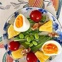 水菜、パイン、ゆで卵、ミニトマト、枝豆のサラダ