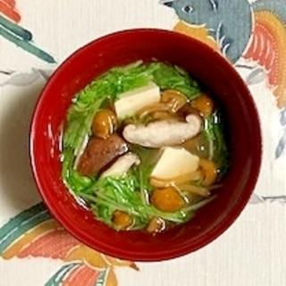 水菜、塩とうふ、なめこ、椎茸のお味噌汁