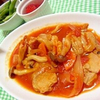 新玉ねぎと鶏肉のトマト煮