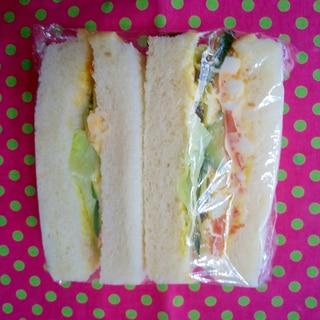 お弁当にラップでサンドイッチ