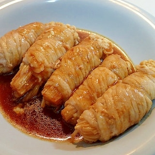 焼き肉のたれで えのき茸の豚もも巻き