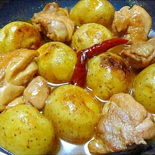 新じゃがと鶏もも肉のピリ辛炒め煮
