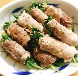 【レンジで簡単】ポン酢でさっぱり豆苗の豚肉巻き