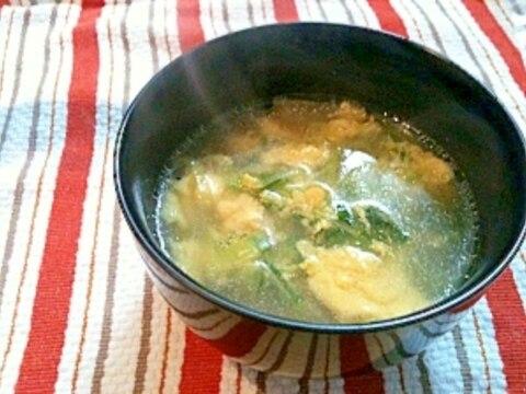 鶏ガラ風スープで作る苗豆と玉子のスープ♪