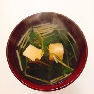 簡単、激ウマ♬ 水菜と卵豆腐の吸い物