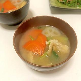 冷凍野菜も活用 3種類野菜と揚げのお味噌汁♪