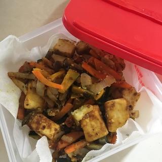 高野豆腐と野菜のカレー炒め