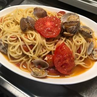 絶品!!アクアパッツァのスープでパスタ