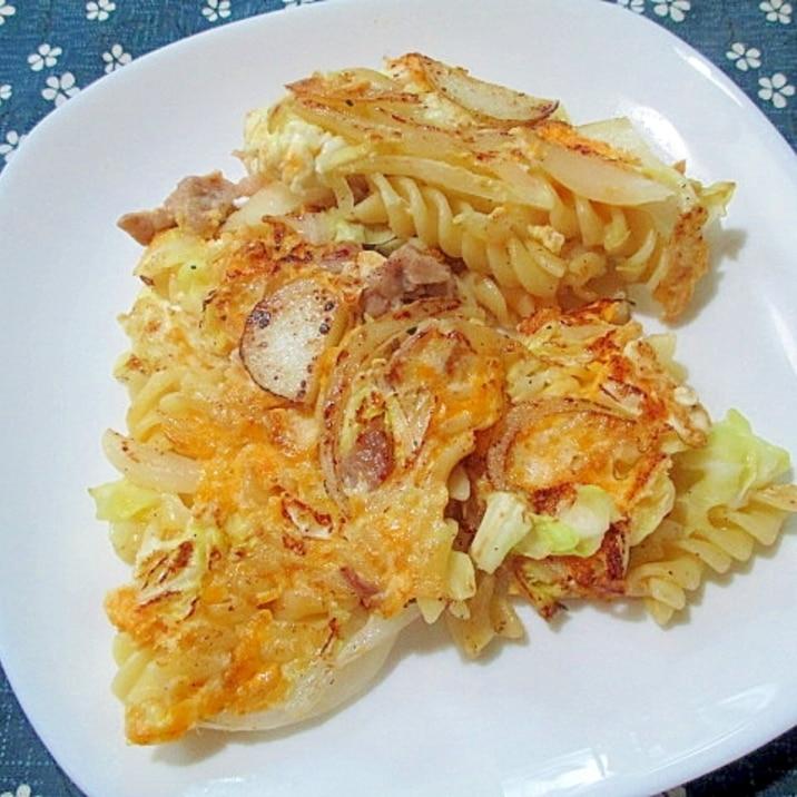 マカロニのスパニッシュオムレツ風卵とじ