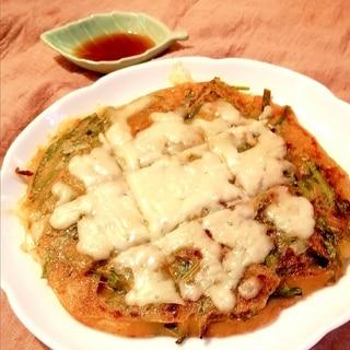 豆腐と片栗粉のモチモチ低糖質チヂミ♪キムチチーズ味