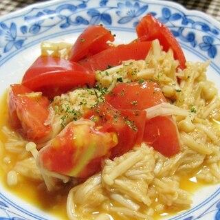 簡単うま~♪えのきトマトのにんにくバター醤油