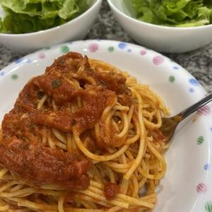 さば缶のトマトパスタです☆食べたい時にサッ!とね♪