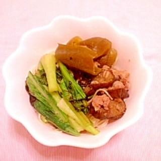 豚小間&茄子の味噌炒めリメイク♪焼きビーフン風素麺