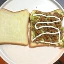 納豆とキャベツのサンドイッチ