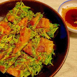 豆苗1袋ペロリ♪豚バラと豆苗のカリカリチヂミ