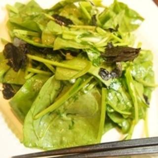 簡単ヘルシー、ほうれん草のチョレギ風サラダ
