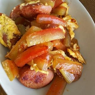 スイカの皮とウインナーと卵の炒め物