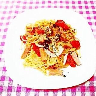トマト&新玉葱ときのこのナポリタン