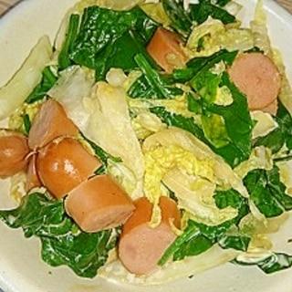白菜・ウインナー・ほうれん草のオイスターマヨサラダ