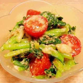 塩麹で♪ 小松菜トマトで彩りナムル☆