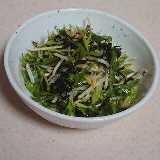 水菜ともやしと塩こぶの簡単サラダ