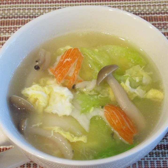 レタスとしめじ・かにかまのたまごスープ