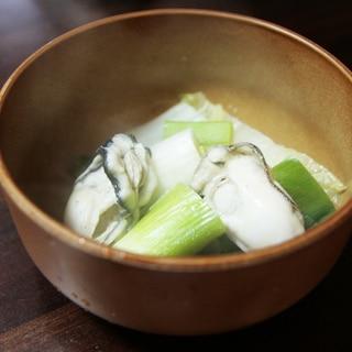 さっぱり温まろっ♪たっぷりネギの牡蠣鍋