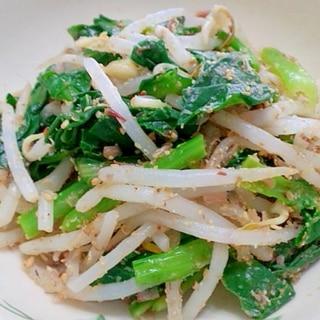 小松菜ともやしの胡麻おかかサラダ
