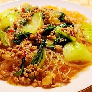 青梗菜と春雨のピリ辛煮