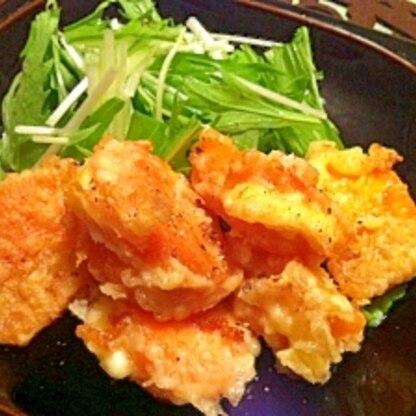 柿とチーズのおつまみ塩麹天ぷら