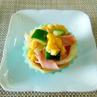お弁当に!きゅうりとベーコンとコーンの炒め物