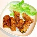 夏野菜の豚バラ巻き焼肉のタレ炒め