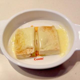 手づかみ食べ用幼児食!豆腐とチーズのレンジ蒸し