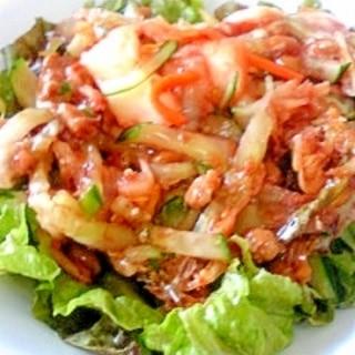 納豆の食べ方-キュウリ&キムチサラダ♪