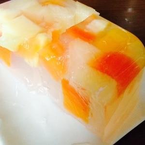 フルーツ缶でぷるぷる寒天ゼリー♡