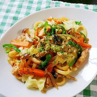 めんつゆで簡単♪野菜たっぷり焼うどん