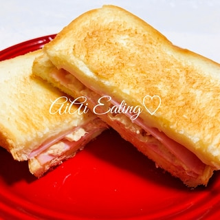 ♡フライパンで超簡単♪ハムチーズツナホットサンド♡
