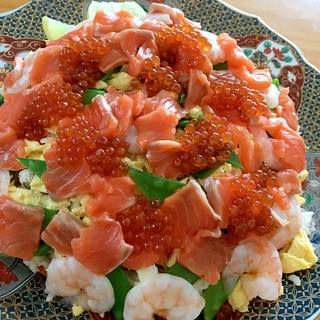 サーモンといくら、えびのちらし寿司