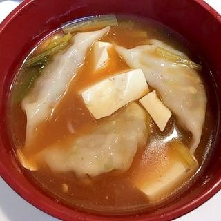 締めの一杯に☆餃子豆腐チゲ