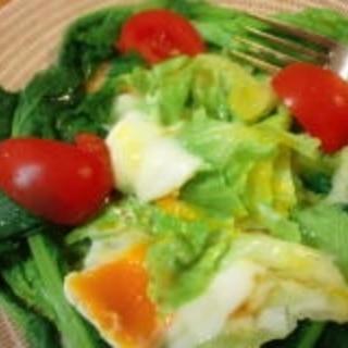 温玉で食べる菜の花サラダ