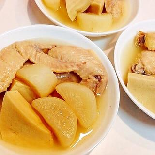 ヘルシー素材で☆手羽先と高野豆腐と大根の白だし煮