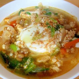 小松菜とにんじんの納豆チゲスープ