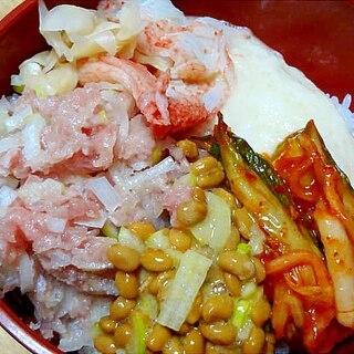 ネギトロ納豆キムチ山かけ丼