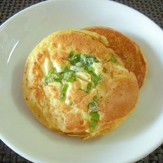 ねぎと豆腐のヘルシー大豆粉パンケーキ♪