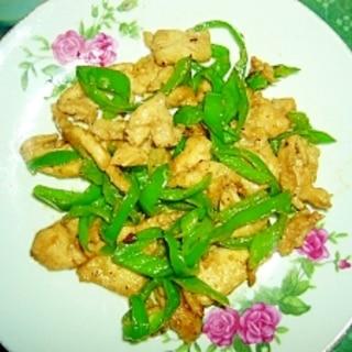 鶏胸肉と青唐辛子の炒め