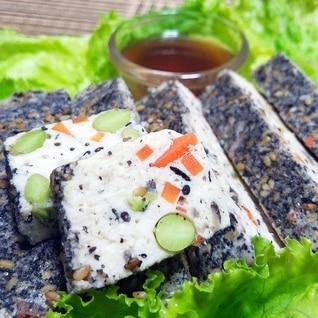 レンジで簡単!具沢山♡ゴマとヒジキの鶏豆腐ローフ