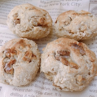 発酵なし HMと米粉で簡単♪ くるみヨーグルトパン