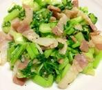 かぶの葉とベーコンの炒め物